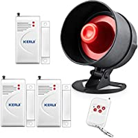 KERUI Personal Businesses and Homes DIY Security Alarm Kit- 110db Loud Alarm Horn Siren with 3 Door & Window Contacts,Remote Key Fob