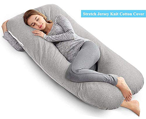 AngQi Unique U Shaped Full Pregnancy Body Pillow with Jersey Knit Removable Cover, 55-inch, Gray