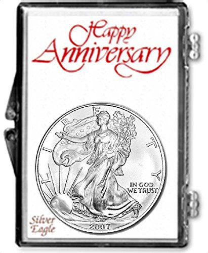 2007-1 Ounce American Silver Eagle in Anniversary Holder Dollar Uncirculated Us Mint