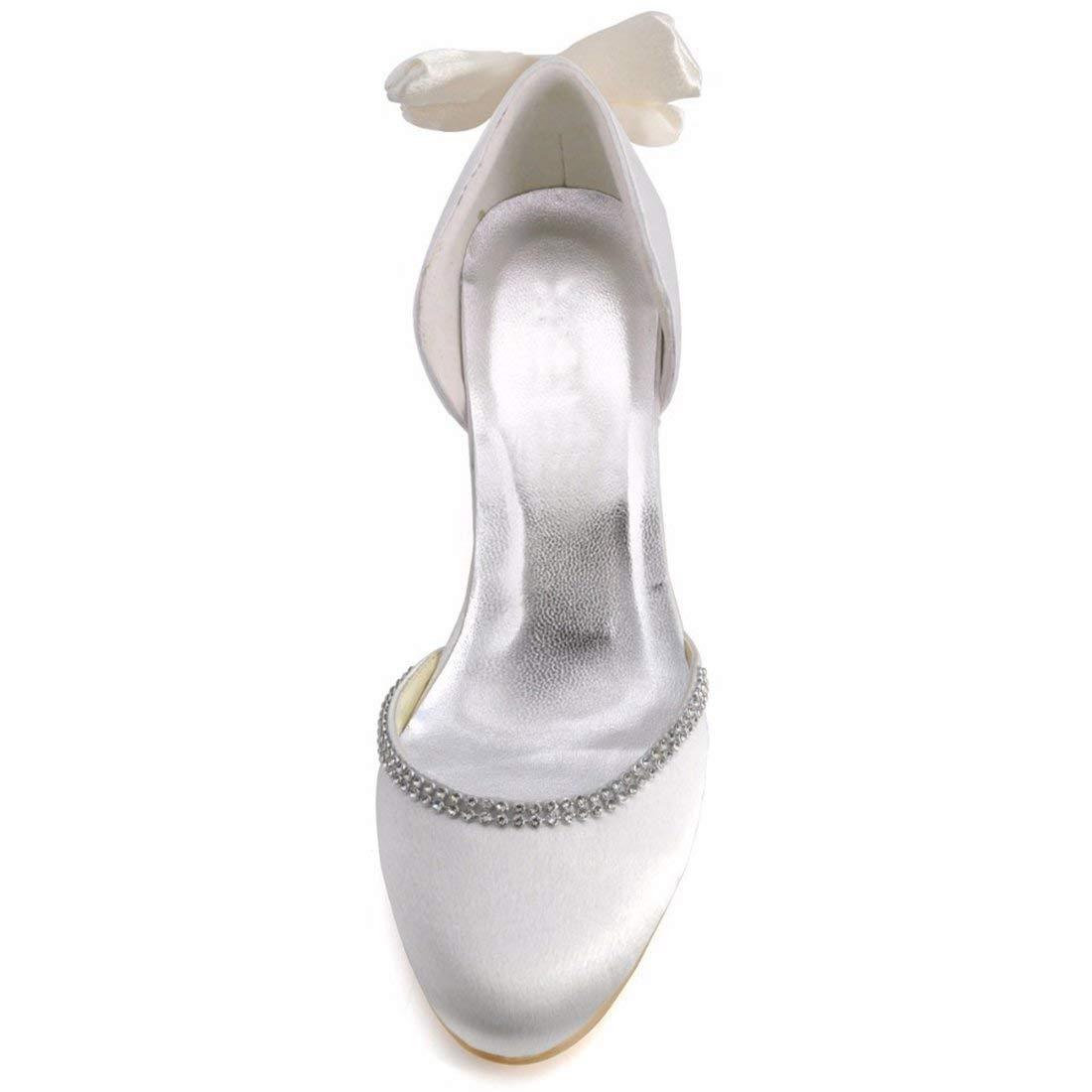 ZHRUI Damen Bowknot 2 2 2 Heel Elfenbein Satin D-Orsay Braut Hochzeit Outdoor Schuhe UK 5 (Farbe   -, Größe   -) 76001d