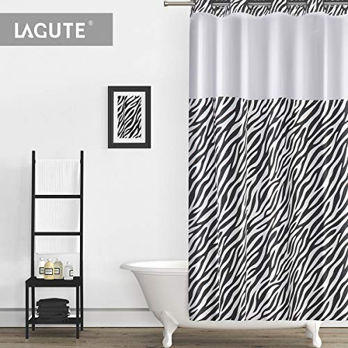 Lagute SnapHook (Hookless) Shower Curtain w/Snap-in Liner | Bathroom Curtain with Removable PEVA Liner [71x74] | Translucent See-Through Window, Waterproof and Anti-Mold Polyester Bathtub Curtain