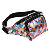 BFD One metallic shiny bumbag bum bag running belt waste pack fanny pack runner bag hip pouch for men or women one size fits all (Metallic Rainbow Bumbag)