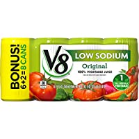 V8 100% Vegetable Juice, Original Low Sodium, 5.5 Ounce (Pack of 48)