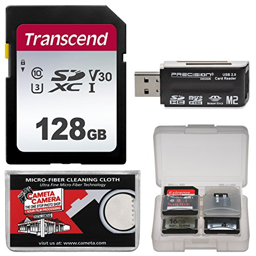 Transcend 128GB SecureDigital SDXC UHS-I Class 10 U3 V30 Memory Card with Reader + Case + Kit