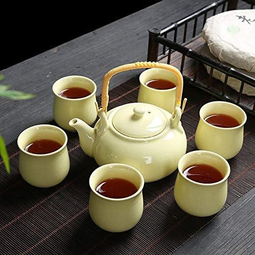 茶器セット 家庭オフィスのためのシンプルなセラミックカンフーティーセットアイスひび割れパターンセラミックティーセット(3色) (Color : Yellow, Size : Free size)