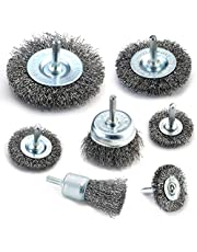 TILAX Wire Brush Wheel Cup Brush Set 7 Pcs, Wire Brush for Drill 1/4 Inch Arbor 0.012'' Coarse Carbon Steel Crimped Wire Wheel for Cleaning Rust, Stripping and Abrasive, for Drill Attachment