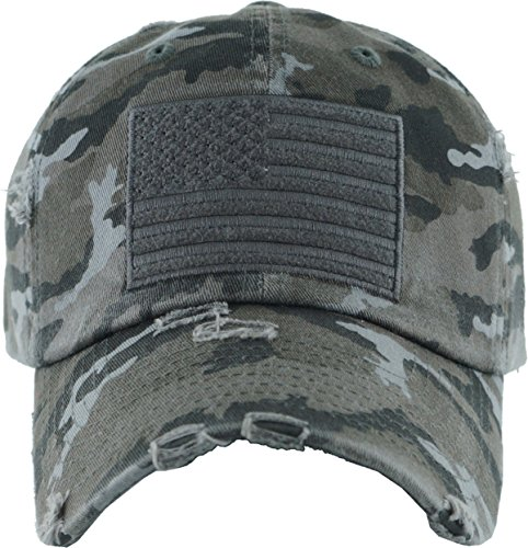 Flag Vintage Metal - Funky Junque H-212-AF0684 Distressed Vintage Patch Hat - American Flag (Black camo)