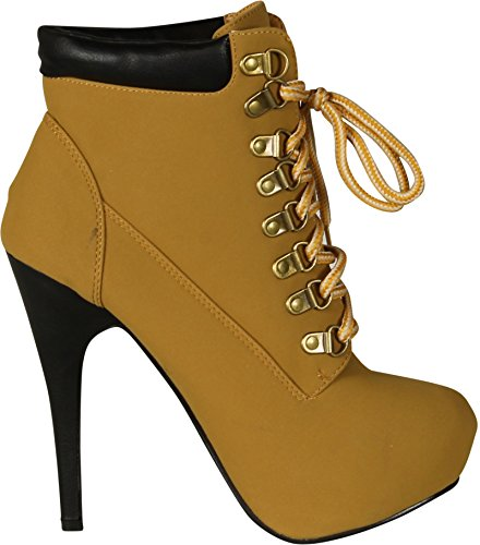 Toe Lace Ankle Forever Up Almond Shoes Synthetic Link Boots JJF Womens Heel High Camel gv08gx