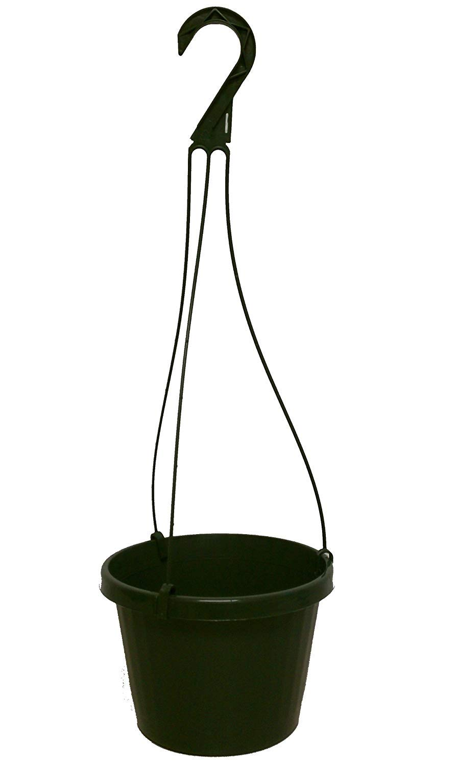10 New ~ 10 Inch Hanging Basket Plastic Nursery Pots ~ Green ~ Pots are 9 Inch Round at The Top and 6.2 Inch Deep and Includes Internal Dish.