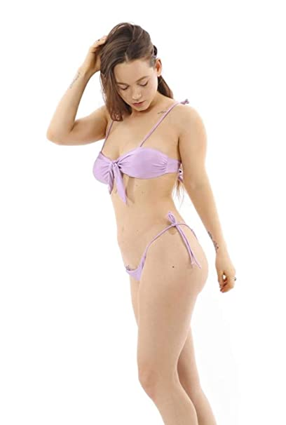 1d1f79d06ad Amazon.com: The Global Connexion High Waist Thong Bikini Swimsuit for Women  - Cheeky Bottom and Bandeau Top Lilac Purple: Clothing