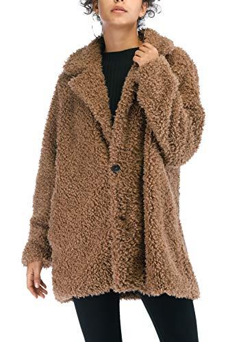 (Women's Warm Artificial Soft Wool Lapel Coat Jacket Winter Sherpa Rolls Wool Parka Outerwear (M, Khaki))