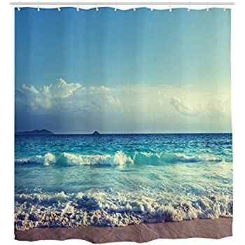 "BravoVision Custom Summer Beach Blue Sea Palm Tree Sunshine Mildew-Resistant Antibacterial Waterproof Shower Curtain 60"" x 72"" well-wreapped"
