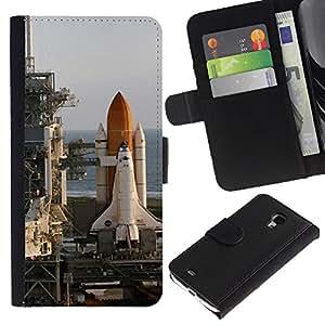 ZONECELL ( No Para S4 i9500 ) Imagen Frontal Negro Cuero Tarjeta Ranura Trasera Funda Carcasa Diseño Tapa Cover Skin Protectora Case Para Samsung Galaxy S4 Mini i9190 - centro de lanzamiento de cohetes