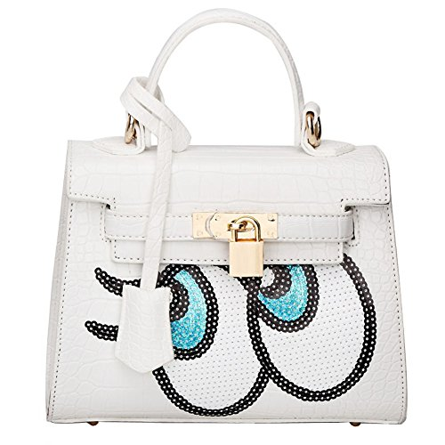 Cute Croco Pattern Big Eyes Sequined PU Leather Handbag Bags for Women White
