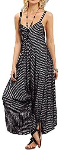 Casual Wide Leg - EGELEXY Women's Stripe V-Neck Spaghetti Strap Wide Leg Pants Jumpsuit Rompers Size L (Black)