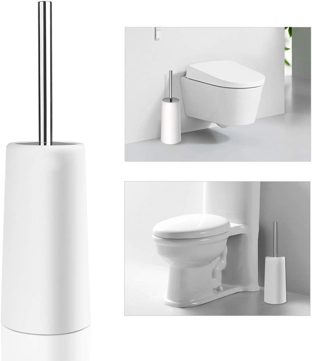 PIXNOR Toilettenbürste und Halter aus Edelstahl für die Aufbewahrung im  Badezimmer (weiß)