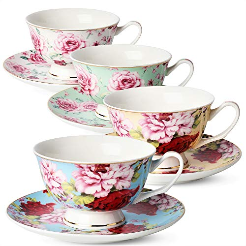 BTäT- Tea Cups, Tea Cups and Saucers Set of 4, Tea Set, Floral Tea Cups (8oz), Tea Cups and Saucers Set, Tea Set, Porcelain Tea Cups, Tea Cups for Tea - Rose Tea Classic Set