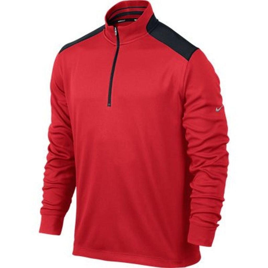 Nike Golf Dri-Fit Performance 1/2-Zip ACTION RED/BLACK/METALLIC SILVER S