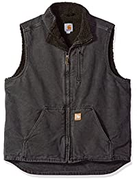 Men's Tall Sherpa-Lined Sandstone Mock-Neck Vest V33