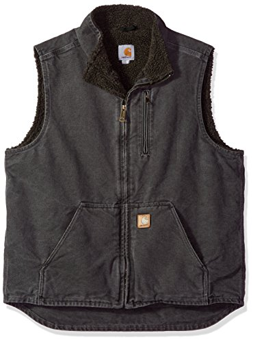 - Carhartt Men's  Sherpa Lined  Mock Neck Vest ,Gravel,Large/Tall