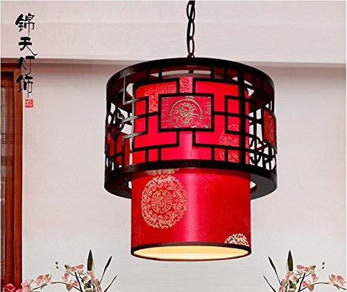 (CLG-FLY Bar lamp, Chinese style lighting, solid wood lantern, corridor staircase, retro hotel restaurant, bar terrace,Red diameter 28×30)