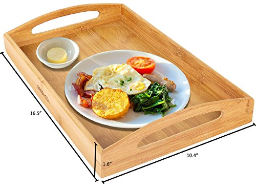 Greenco Rectangle Bamboo Butler Serving Tray With Handles by Greenco (Image #2)