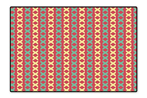 Pattern Yellow Cross (Printed Floor Rugs Chain Cross Sign Motifs Stripes on Red Background Vertical Tile Pattern Red Seafoam Light Yellow Bath mat Non Slip Absorbent 4'x6')