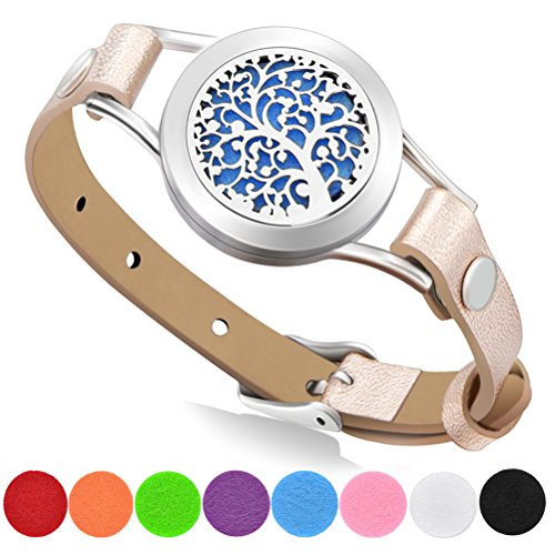 Aromatherapy Essential Oil Diffuser Bracelet with Gift Box, 316L Stainless Steel Locket Leather Band Bracelet with 8 Color Refill Cotton Pads, Tree (Gold)