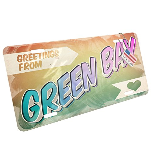 Metal License Plate Greetings from Green Bay, Vintage Postcard - Neonblond - Vintage Postcard Bay