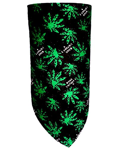 Adjustable Green and Black Marijuana Leaf Face Mask Cotton Bandana Neck Cover Reversible Stoner Weed 420 Happy Hippy Cannabis Costume Disguise Blunt