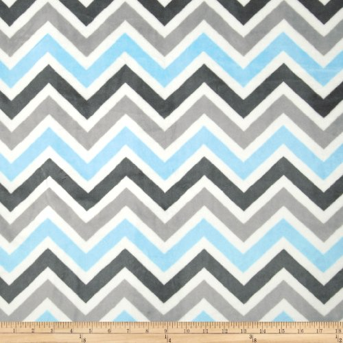 Shannon Fabrics Minky Cuddle Zig Zag Baby Fabric by The Yard, Blue/Silver/Charcoal (Fabric Yard By Zig Zag The)