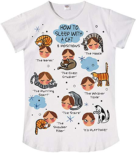 Cat Nightshirt - Nightshirt Says How to Sleep with a Cat,ONESIZE
