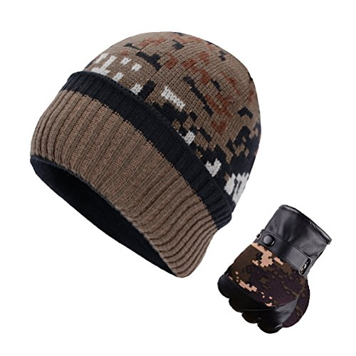 U-LOVE Men's Winter Beanie Hat and PU Leather Gloves Camouflage Style Thick Fleece Lined Hat Gloves Set