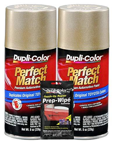 (Dupli-Color Desert Sand Mica Exact-Match Automotive Paint for Toyota Vehicles - 8 oz, Bundles Prep Wipe (3 Items))