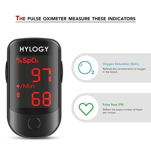 Oxímetro HYLOGY, Oxímetro de Pulso para Dedo. Monitor con Saturación de Oxígeno en sangre con Pantalla OLED: Amazon.es: Salud y cuidado personal