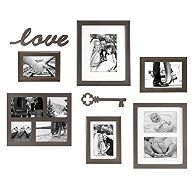 MCS 8 Piece Frame Set with Love and Key Plaques, Bronze