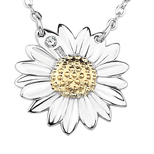 Acxico 925 Sterling Silver with Crystal Inlaid Sunflower Pendant Necklace