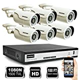 ISEEUSEE 8 Channel 1080N HD DVR Video Recording System HDMI Output 6 x 1500TVL Outdoor Night Vision Cameras and Free Pro APP Home Security Camera Surveillance Kits No Hard Drive Preinstalled For Sale