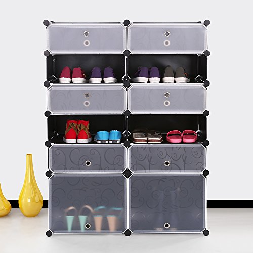 Stackable Multi Shoe Rack 12 Cube Shoe Cabinets Organizer Storage Plastic Drawers Black with White Doors - Drawer Shoe Cabinet