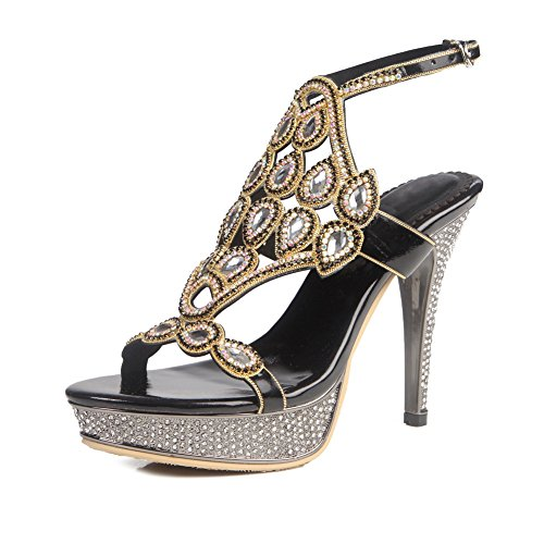ZPL Mujeres Señoras Mid Low High Heel Strappy Diamante Party Prom Prom Sandalias Zapatos Tamaño Negro