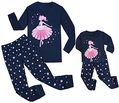 Price comparison product image Babyroom Girls Matching Doll&Toddler Reindeer 4 Piece Cotton Pajamas Kids Clothes Sleepwear 7t