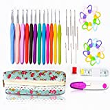 SZLhappyboy Crochet Hooks, 45 pcs with Case, Soft Handles crochet hooks, Ergonomic Handle Hooks, Ideal for Crocheters with Arthritis, Perfect gift!