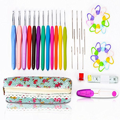 SZLhappyboy Crochet Hooks, 45 pcs with Case, Soft Handles crochet hooks, Ergonomic Handle Hooks, Ideal for Crocheters with Arthritis, Perfect gift! by SZLhappyboy