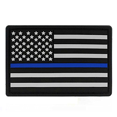 "3"" x 2"" American Flag PVC Patch with Velcro - Thin Blue Line"