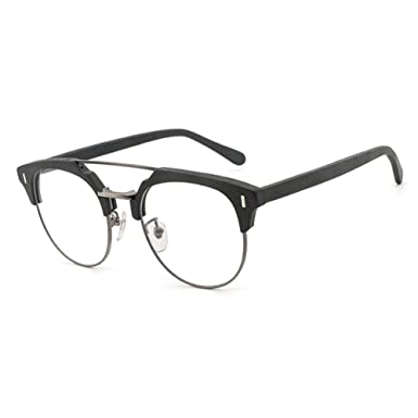 b06ca72132 Men Women Wooden Glasses - Clear Lens Glasses Frame - Round Eyeglasses -  hibote  18020711