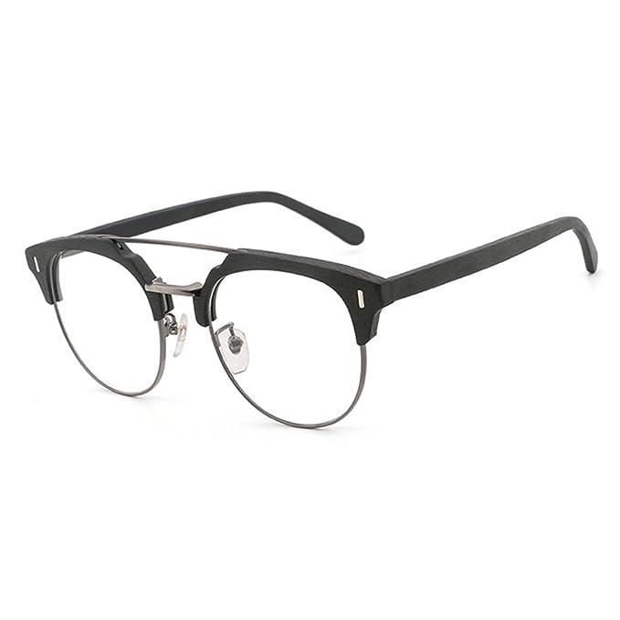 9a5fbdba98 Hibote Gafas de madera para hombres - Gafas de lentes transparentes - Gafas  redondas 18020711: Amazon.es: Ropa y accesorios