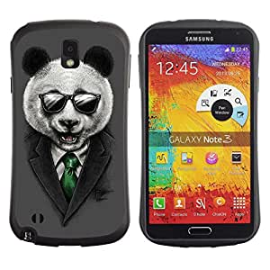 Hybrid Anti-Shock Bumper Case for Samsung Galaxy Note 3 / Classy Panda & Sunglasses