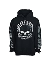 H-D Men's Hooded Pullover Sweatshirt - Handmade Willie | Overseas Tour, Black,Medium