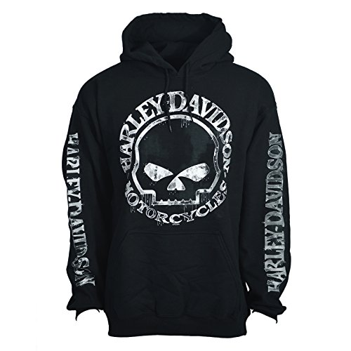H-D Men's Hooded Pullover Sweatshirt - Handmade Willie | Overseas Tour LG