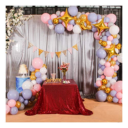 Poise3EHome 90x90 Square Sequin Tablecloth for Party Cake Dessert Table Exhibition Events, Burgundy (Burgundy Skirt Table)